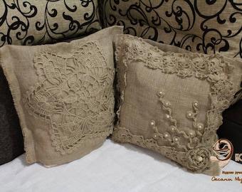 PILLOWCASE .Set for pillows.  Pillowcases from jute. Cushion covers. Set JUTE.SET.