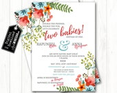 Double Baby Shower Floral Invite, Dual Garden Babyshower Invitation, It's a girl, Two Babies | Personalized Digital Download 4x6 or 5x7 JPG