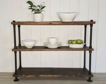 Rustic Wood & Steel Pipe Shelves, Shelving Unit, Bookshelf, Pantry Rack, Console Table