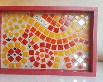 Mosaic Tile Tray (gay, joy to the world, christmas decor, re-purposed art)