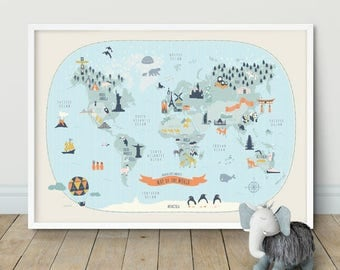 Kids World Map Etsy - World map for kids room