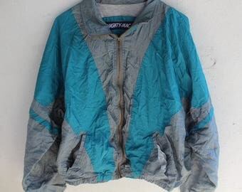 1990s Vintage Mighty Mac Geometric Windbreaker Teal/Gray Large