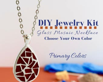 Complete Jewelry Making Kit, Glass Mosaic Necklace Activity, Teardrop Silver Pendant, Choose Your Own Primary Colors, DIY Jewelry Kit