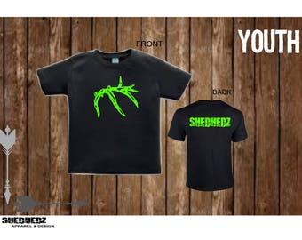 Youth Shedhedz T- shirt Hunting, Shed Hunter, Outdoor, Camping, Antler