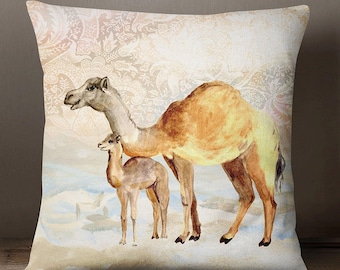 Camel Printed Beige Pillow Case, Home Decorative Throw Satin Pillowcases, Designer Cushion Cover, Canvas Cushion Cover, SUB-SAS102A