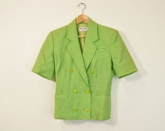 60s Tweed Jacket, Vintage 60s Blazer, Pierre Cardin Blazer, Short Sleeve Blazer, Green Gingham Blazer, 60s Tweed Blouse, Retro Designer Top