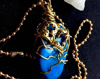 Blue Howlite Hand Wire Wrapped Pendant With Bible Charm
