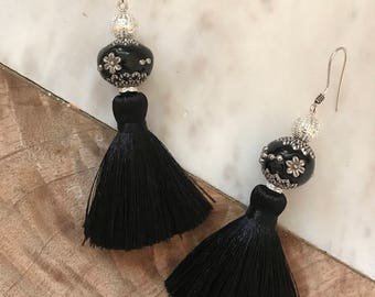 Black beauty tassel earrings