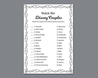 Disney Couples Match Game, Match Disney Couples, Unique Bridal Shower Games Printable, Fence, Berbed Wire, Famous Couples Match Game, A023