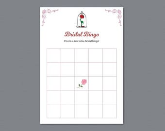 Bridal Shower Bingo Game Cards, Disney Fairytale, Beauty and the Beast, Once Upon a Time, Bachelorette, Bridal Shower Games, Wedding, A013