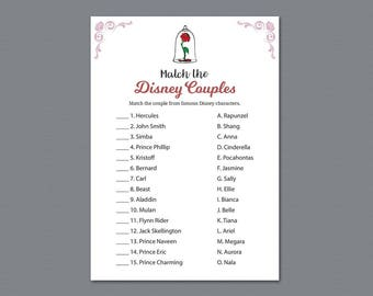 Disney Couples Match, Match Disney Couples, Bride and the Beast, Bridal Shower Games, Fairy Tale, Once Upon a Time, Famous Couples, A013