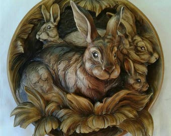 3D wooden carving plate, home decor, rabbits