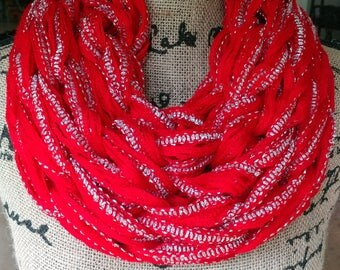 Christmas Scarf/Cowl/Arm Knit Cowl/Infinity Scarf/Circle Scarf/Red Scarf/Red Cowl