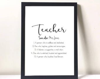 teacher gift personalised gifts for teachers teacher appreciation gift teacher thank you - Teacher Pictures To Print
