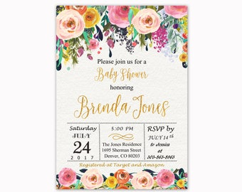 Floral Baby Shower Invitation, Watercolor Flowers Baby Shower Invitation, Baby Shower Invite, Printable Invitation