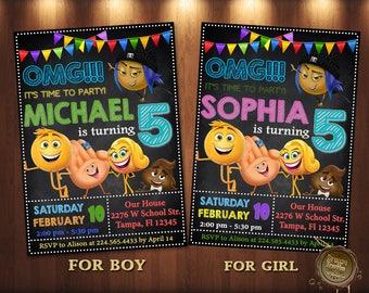 Emoji Invitation,Emoji Birthday Invitation,Emoji Party,Emoji Birthday,Emoji Invites,Emoji Printable,Girl Invitation,Emoji Card,Emoji movie