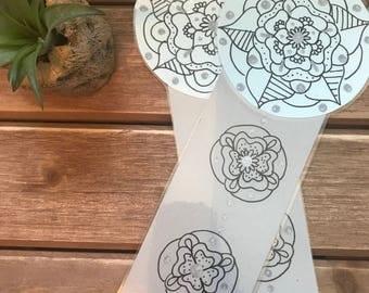 Hand drawn Bookmark- Blue & Grey Mandala