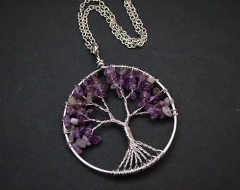 Amethyst wire wrapped tree of life necklace