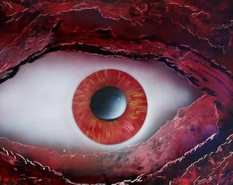 Red Eyeball, Sci-Fi Art, Original Art, Spray Paint Art