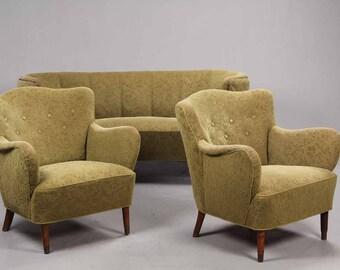 Danish banana sofa and 2 matching armchairs 1940-1960