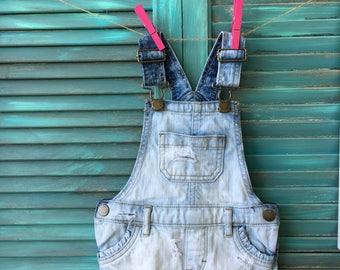 12/18 month toddler didtressed denim overalls