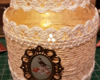 Shabby Chic Jar with twine and Crochet Lace Trim with LED Battery Operated Candle Light