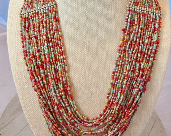 Tribal Vive Jewelry, Rainbow Seed Beads Necklace, Multi Strand Bib Necklace, Boho Chic Necklace, Gift for Her