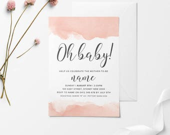 OH BABY, Baby Shower Invitation, Printable Baby Shower Invitation, DIY Baby Shower Invitation, Peach Baby Shower, Peach Baby Shower Invite