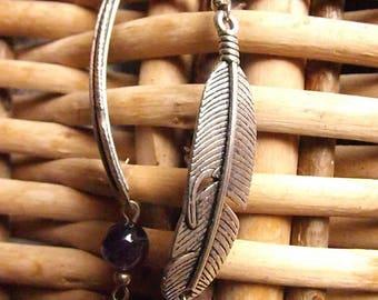 Amethyst feather earrings