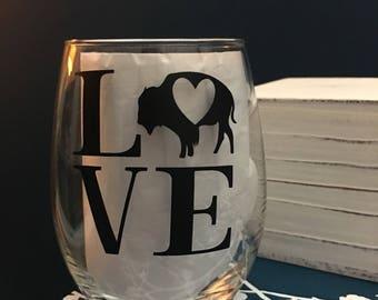 Buffalo LOVE - Buffalo, NY Wine Glass