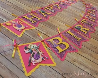 Rapunzel Birthday Banner, Tangled Birthday Banner, Tangled Party Supply, Rapunzel Party Supply