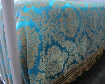 VIBRANT Teal Silky Embroidered 60's 70's Gold Damask Bedspread Vintage Bedcover Coverlet with Fringe Double Queen