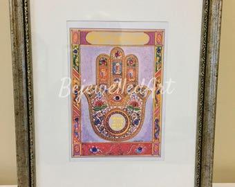 mazal tov arte enmarcado hamsa pared arte decoracin casera regalo para la