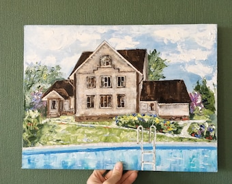 Custom Home Painting on Canvas / Oil House Painting / Home Portrait Oil / New Home Gift / First House Painting
