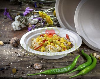 50 Natural Sugarcane Fiber Bagasse Disposable 12 oz Round Bowls 100% by-product Compostable Environmental Eco Friendly Tree Plastic Free