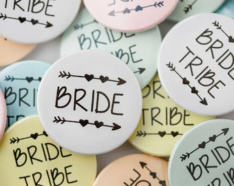 5,10,15,20x Hen party badges. Bride Tribe Badges 38mm.9 Bride Tribe & 1 Bride Badge. Hen do badge. Hen night badge. Team Bride. Bride Tribe