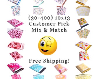 "FREE SHIPPING! (30-400 Pack) 10x13"" Customer Pick Mix & Match Designer Poly Mailers"