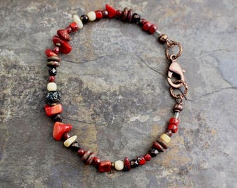 NEW Viking inspired bracelet,red bamboo coral, Czech glass beads, copper lobster clasp,B171