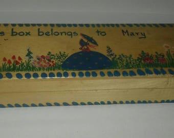 "Wooden ""Mary"" pen/pencil box."