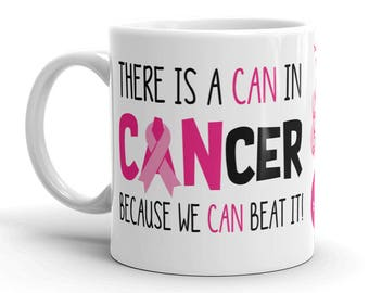Breast Cancer Awareness Coffee Cup Can Beat It Novelty Ceramic Mug Pink Ribbon Custom Gift Survivor Support 11 & 15 ounce