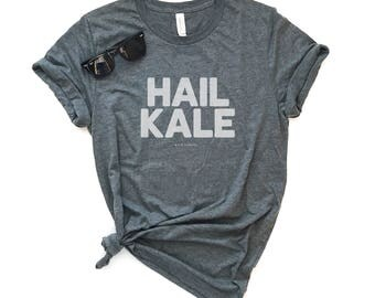 Hail Kale Unisex Short Sleeve T-shirt - Graphic Tee - Vegan Tee - Funny Tee - Veggies Shirt - Vegetarian Tee - Pun Tee - Garden Tee - Gift