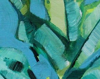 Tropical Aqua House Plant Painting Original Art