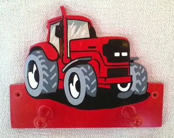 Hand Painted Kid's Coat Hanger, Hand Painted Kid's Coat Peg, Tractor, Red Tractor, Coat Hanger, Coat Peg, Hand Painted, Kid's Bedroom