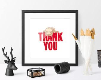 Thank you, inspirational quote, PRINTABLE art, room decor, animal art, room quote, wall art, kids art, bedroom wall decor