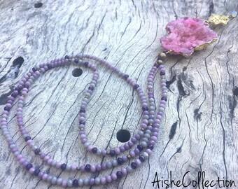 Rose quartz pendant/Подвеска с друзой розового кварца
