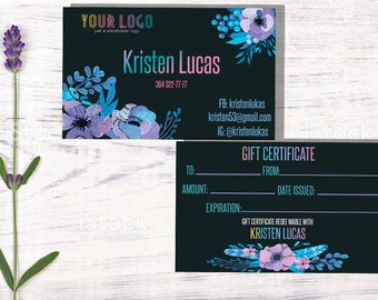 Gift Certificate, Gift Card, Surprise Cards, Gift Voucher, Business Cards, Loyalty cards, Home Office Approved Color&Fonts,Flowers