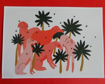 Dogs printed artwork A4