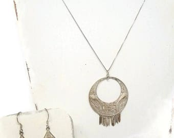 Vintage Bohemian Silver Filigree Necklace and Earring Set