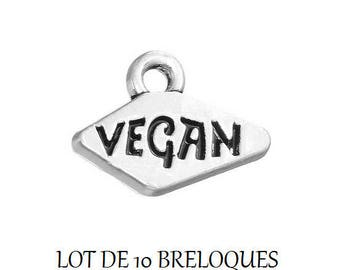 Set of 10 silver VEGAN (E60) engraved charms