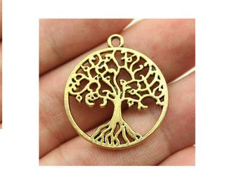 SET of 3 charms tree of life old medal gold plated (S48)